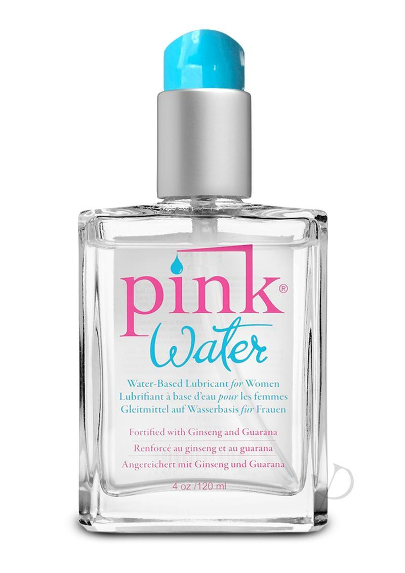 Pink Water 4oz Glass Bottle Water Based Lubricant With Pump